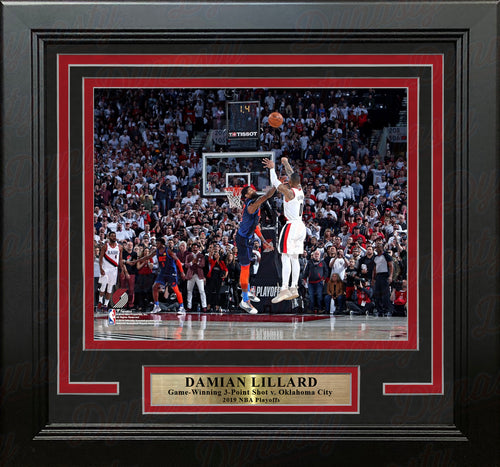 "Damian Lillard Portland Trail Blazers Game-Winning 3-Point Shot v. Oklahoma City 8"" x 10"" Framed Basketball Photo - Dynasty Sports & Framing"