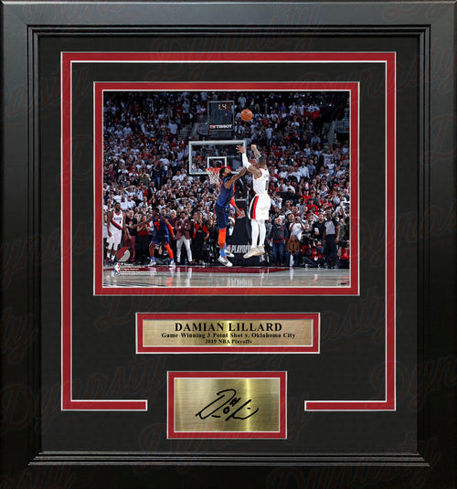 Damian Lillard Trail Blazers Game-Winning Shot v. Thunder 8x10 Framed Photo with Engraved Autograph - Dynasty Sports & Framing