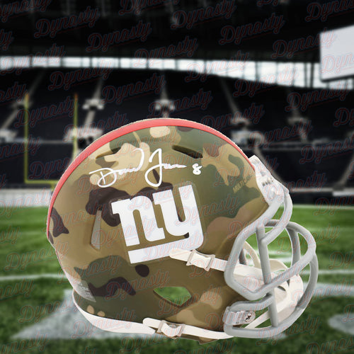 Daniel Jones New York Giants Autographed Football Camo Speed Mini-Helmet - Dynasty Sports & Framing
