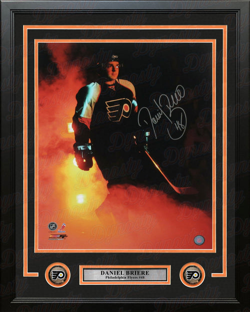 "Daniel Briere in the Smoke Autographed Philadelphia Flyers 16"" x 20"" Framed Hockey Photo - Dynasty Sports & Framing"
