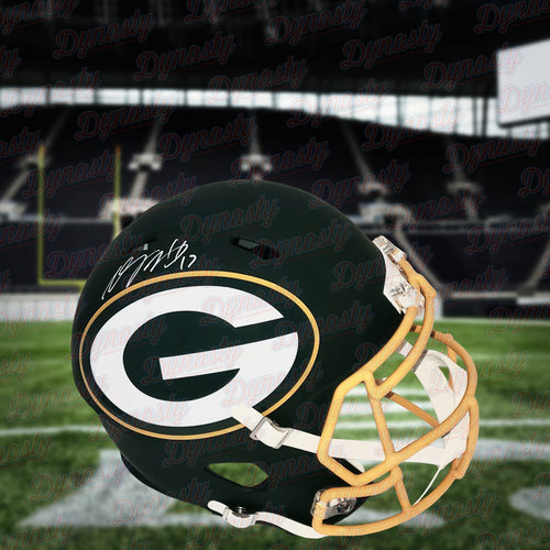 Davante Adams Green Bay Packers Autographed Football Replica AMP Helmet - Dynasty Sports & Framing