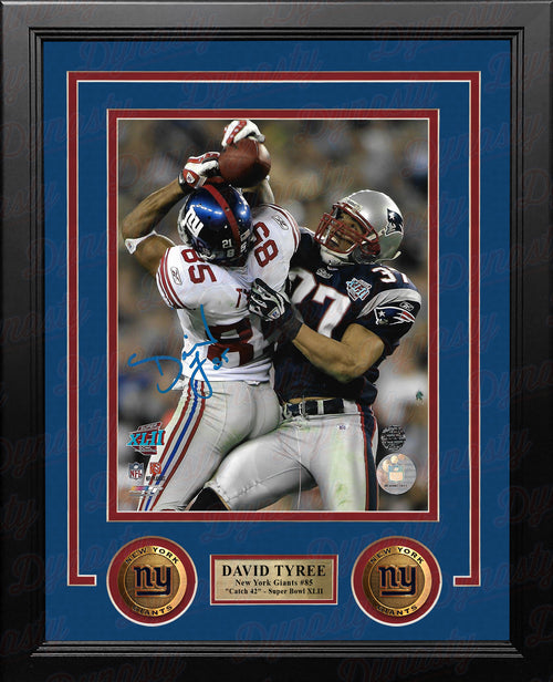 David Tyree Super Bowl XLII Catch New York Giants Autographed 8x10 Framed Photo - Back View - Dynasty Sports & Framing