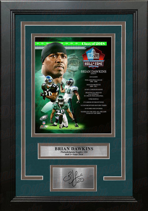 Brian Dawkins Hall of Fame Philadelphia Eagles 8x10 Framed Football Photo with Engraved Autograph - Dynasty Sports & Framing