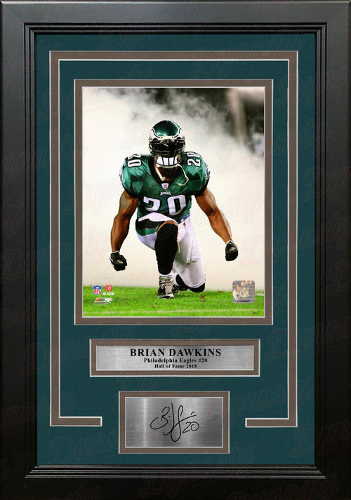 Brian Dawkins Smoke Philadelphia Eagles NFL Football Framed & Matted Photo with Engraved Autograph - Dynasty Sports & Framing