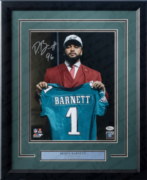 Derek Barnett Draft Day Philadelphia Eagles Autographed NFL Football Framed and Matted Photo