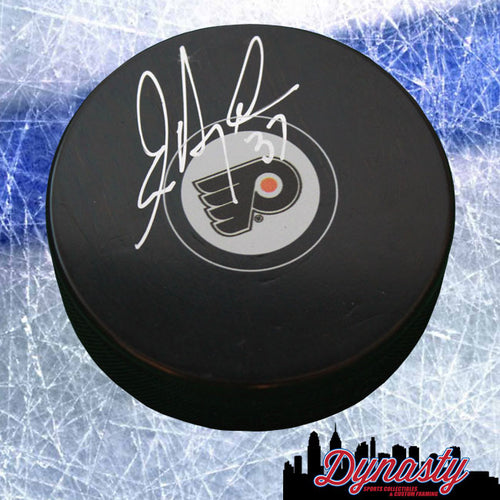 Philadelphia Flyers Eric Desjardins Autographed NHL Hockey Logo Puck - Dynasty Sports & Framing