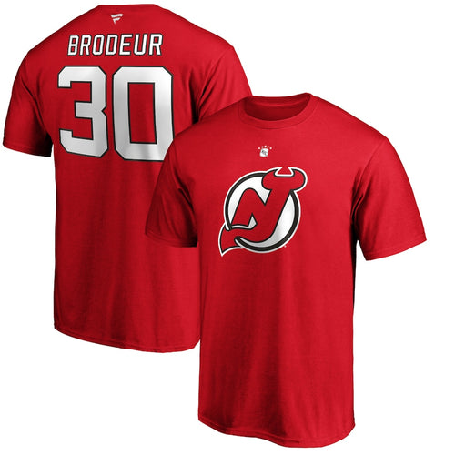 Martin Brodeur New Jersey Devils Authentic Stack Retired Player Name & Number Red T-Shirt