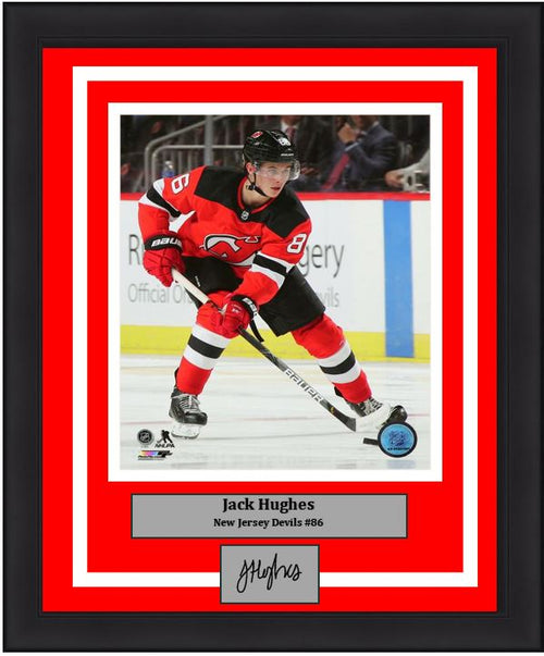 "Jack Hughes in Action New Jersey Devils 8"" x 10"" Framed Hockey Photo with Engraved Autograph - Dynasty Sports & Framing"