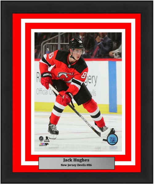 "Jack Hughes in Action New Jersey Devils 8"" x 10"" Framed Hockey Photo - Dynasty Sports & Framing"