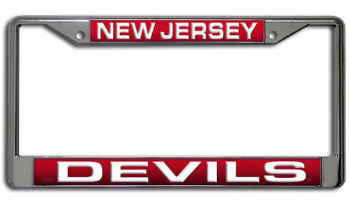 New Jersey Devils Laser-Etched NHL Hockey Chrome License Plate Frame - Dynasty Sports & Framing