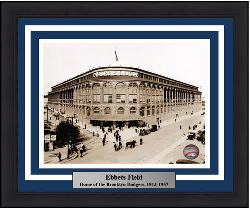 "Ebbets Field Brooklyn Dodgers MLB Baseball 8"" x 10"" Framed and Matted Stadium Photo"