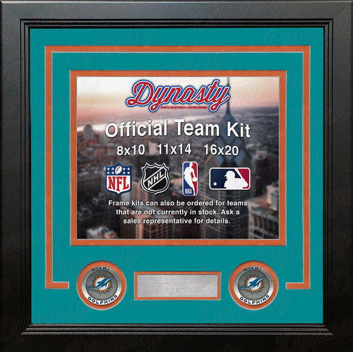 NFL Football Photo Picture Frame Kit - Miami Dolphins (Teal Matting, Orange Trim) - Dynasty Sports & Framing