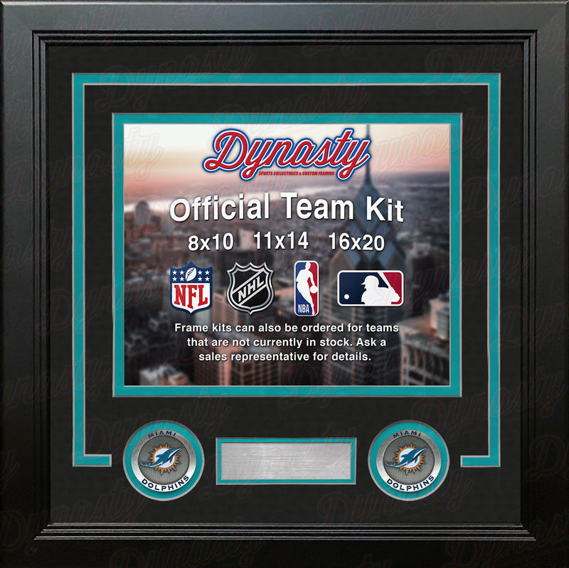 NFL Football Photo Picture Frame Kit - Miami Dolphins (Black Matting, Teal Trim) - Dynasty Sports & Framing