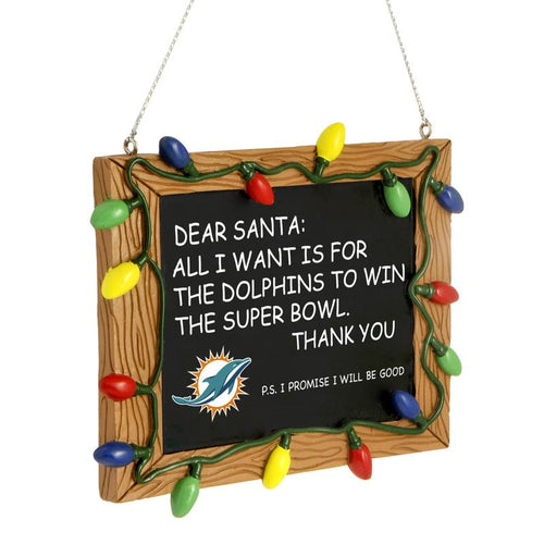 Miami Dolphins Chalkboard Sign Ornament - Dynasty Sports & Framing