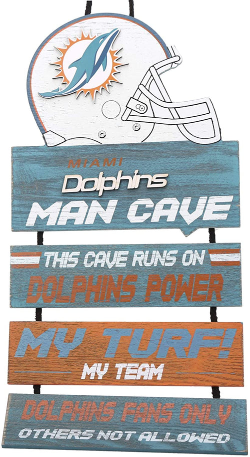 Miami Dolphins NFL Football Wooden Helmet Man Cave Dangle Sign - Dynasty Sports & Framing