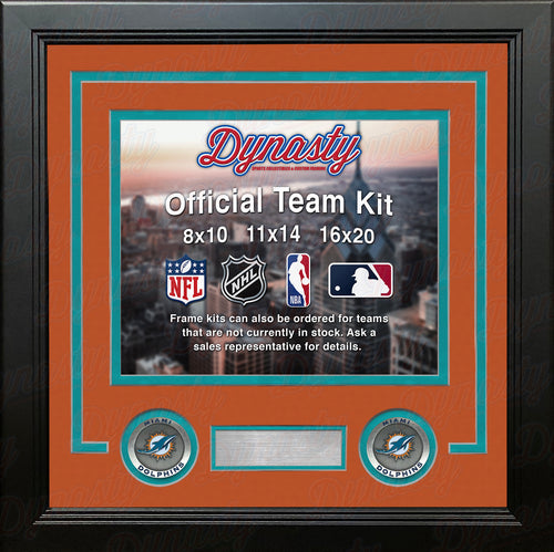 NFL Football Photo Picture Frame Kit - Miami Dolphins (Orange Matting, Teal Trim) - Dynasty Sports & Framing