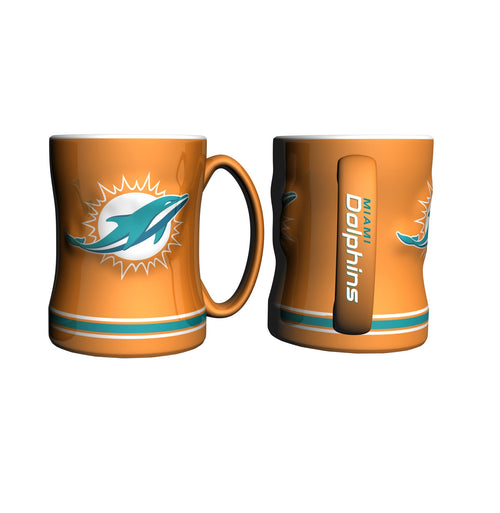 Miami Dolphins NFL Football Logo Relief 14 oz. Mug - Orange - Dynasty Sports & Framing