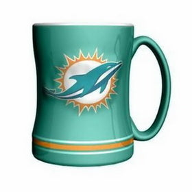 Miami Dolphins NFL Football Logo Relief 14 oz. Mug - Green - Dynasty Sports & Framing