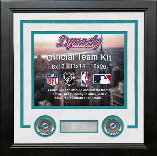 NFL Football Photo Picture Frame Kit - Miami Dolphins (White Matting, Teal Trim) - Dynasty Sports & Framing