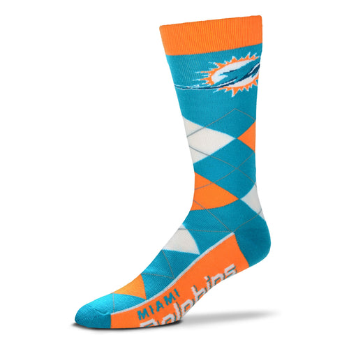 Miami Dolphins Men's NFL Football Argyle Lineup Socks