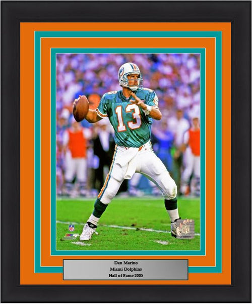 "Miami Dolphins Dan Marino NFL Football 8"" x 10"" Framed and Matted Photo - Dynasty Sports & Framing"