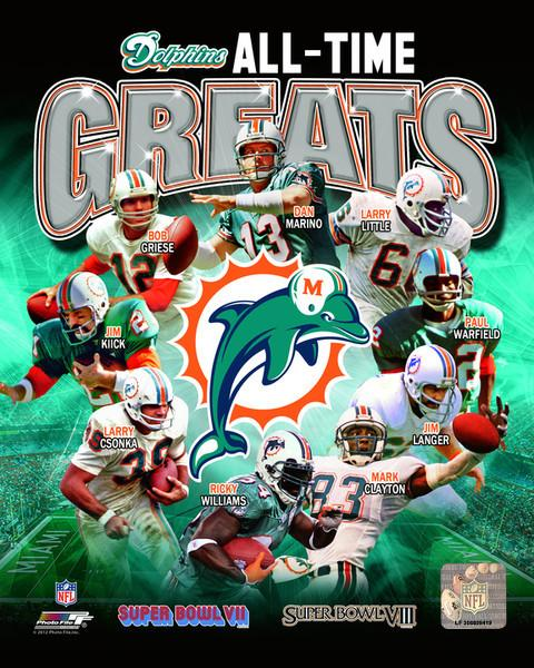 "Miami Dolphins All-Time Greats NFL Football 8"" x 10"" Photo"