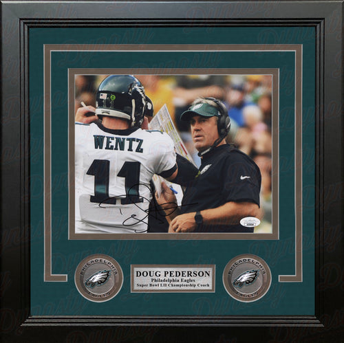 "Doug Pederson with Carson Wentz Philadelphia Eagles Autographed 8"" x 10"" Framed Football Photo - Dynasty Sports & Framing"