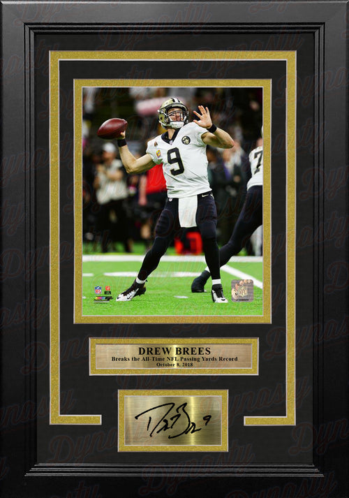 Drew Brees Passing Record New Orleans Saints 8x10 Framed Football Photo with Engraved Autograph - Dynasty Sports & Framing