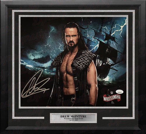 Drew McIntyre WrestleMania Collage Autographed Framed WWE Wrestling Photo - Dynasty Sports & Framing