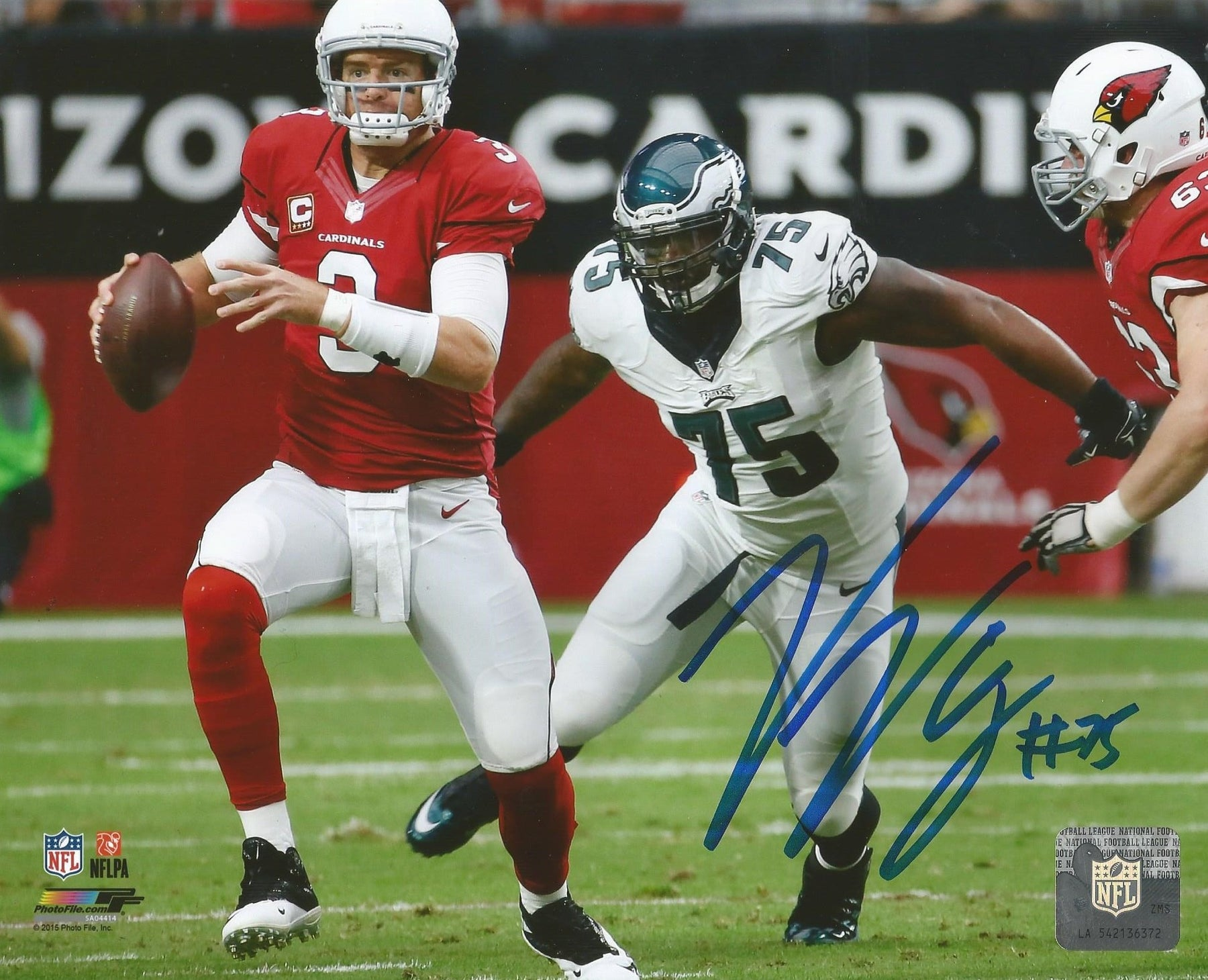 online store c4382 abfdc Philadelphia Eagles Vinny Curry Autographed NFL Football Photo