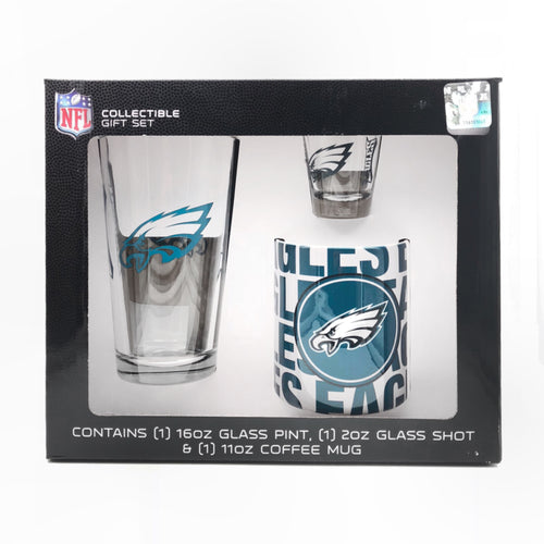 Philadelphia Eagles NFL Football 3-Piece Glassware Gift Set - Dynasty Sports & Framing