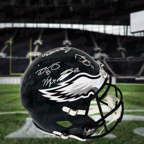 Philadelphia Eagles Team-Signed NFL Football Full-Size Speed Helmet (10 Signatures) - Dynasty Sports & Framing