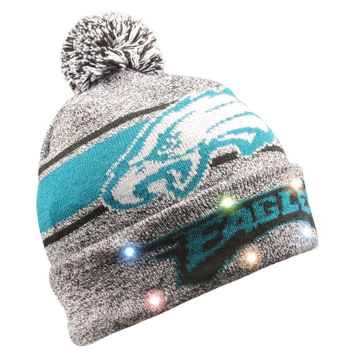 Philadelphia Eagles Gray Stripe Light Up Knit Beanie