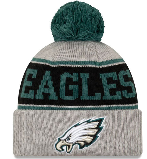 Philadelphia Eagles Gray Stripe Cuffed Knit Hat with Pom - Dynasty Sports & Framing