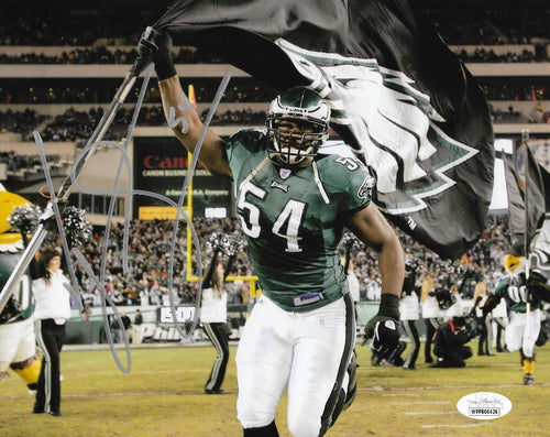 Jeremiah Trotter Carrying the Flag Philadelphia Eagles Autographed Football Photo - Dynasty Sports & Framing
