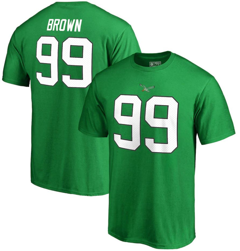 Jerome Brown Philadelphia Eagles NFL Retired Player Authentic Name & Number T-Shirt - Kelly Green - Dynasty Sports & Framing