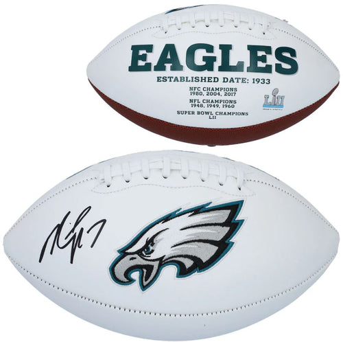 Michael Vick Philadelphia Eagles Autographed NFL White Panel Football - Dynasty Sports & Framing