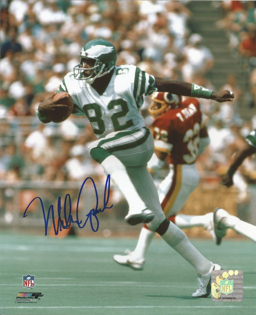 "Mike Quick on the Run Philadelphia Eagles Autographed NFL Football 8"" x 10"" Photo"