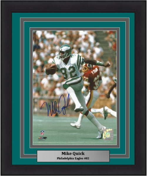 "Mike Quick on the Run Philadelphia Eagles Autographed NFL Football 8"" x 10"" Framed and Matted Photo"
