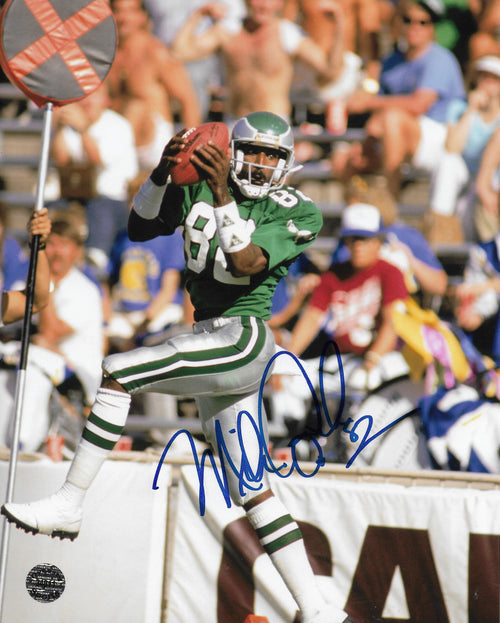"Mike Quick Leaping Catch Philadelphia Eagles Autographed NFL Football 8"" x 10"" Photo"