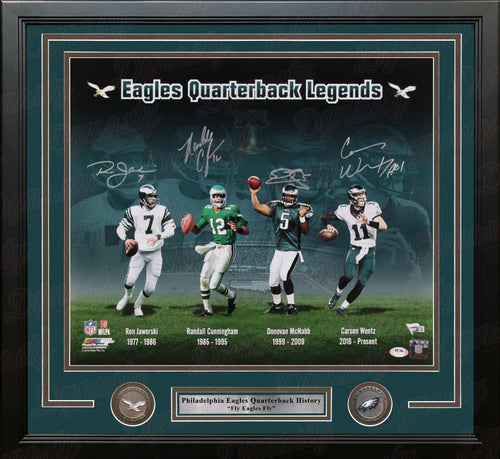 Ron Jaworski Randall Cunningham Donovan McNabb Carson Wentz Philadelphia Eagles 16x20 Framed Photo - Dynasty Sports & Framing
