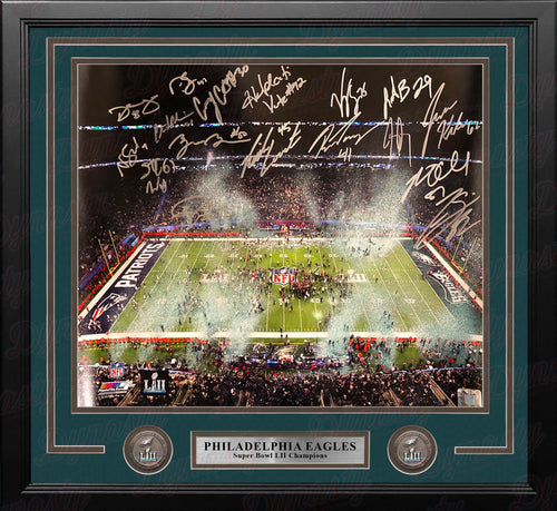 Philadelphia Eagles Super Bowl LII Champions Autographed NFL 16x20 with 17 Signatures - Dynasty Sports & Framing