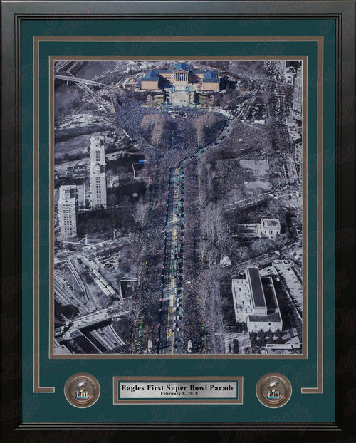 Philadelphia Eagles Super Bowl LII Champions Parade NFL Football Framed and Matted Photo - Dynasty Sports & Framing