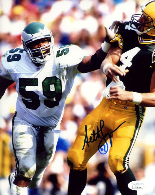 "Seth Joyner Philadelphia Eagles Sacks Brett Favre Autographed 8"" x 10"" Football Photo - Dynasty Sports & Framing"