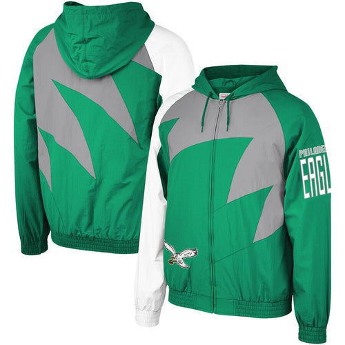 Philadelphia Eagles Mitchell & Ness Shark Tooth Full-Zip Jacket - Dynasty Sports & Framing