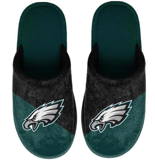 Philadelphia Eagles Colorblock Big Logo Slippers - Dynasty Sports & Framing
