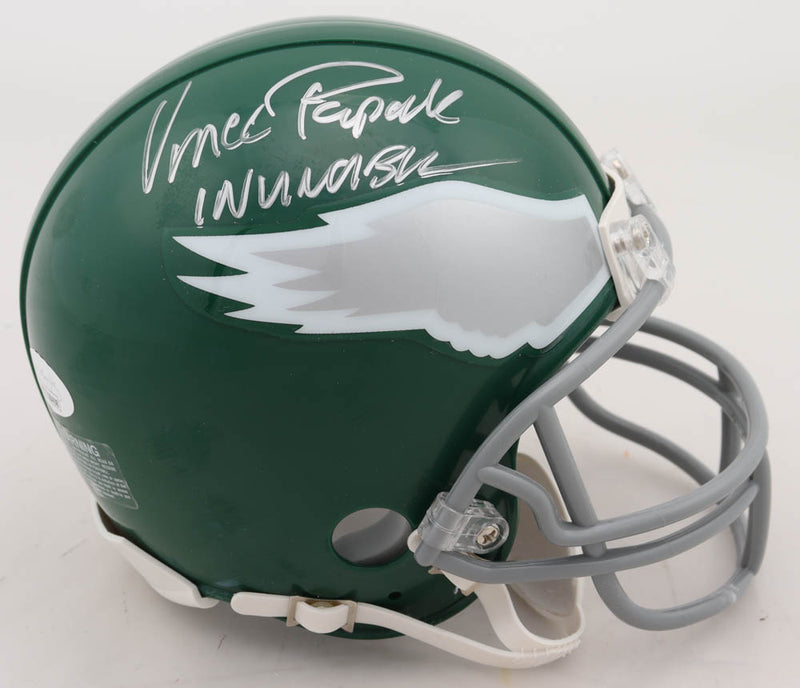 Vince Papale Philadelphia Eagles Autographed Throwback Mini-Helmet Inscribed Invincible - Dynasty Sports & Framing