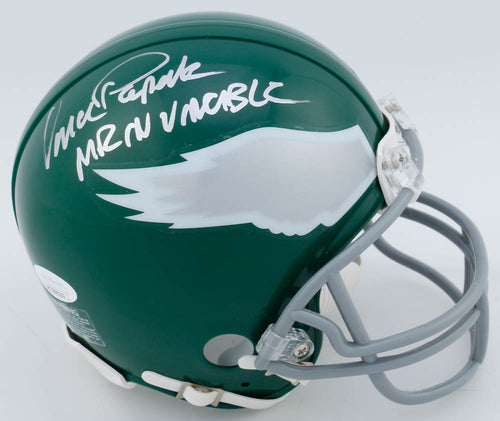 Vince Papale Philadelphia Eagles Autographed Throwback Mini-Helmet Inscribed Mr. Invincible - Dynasty Sports & Framing