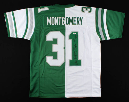 Wilbert Montgomery Philadelphia Eagles Autographed Throwback Split Jersey with Eagles Hall of Fame - Dynasty Sports & Framing