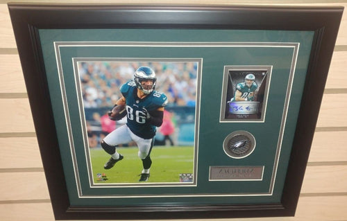 "Zach Ertz in Action Philadelphia Eagles 8"" x 10"" Framed Football Photo with Autographed Jersey Card - Dynasty Sports & Framing"